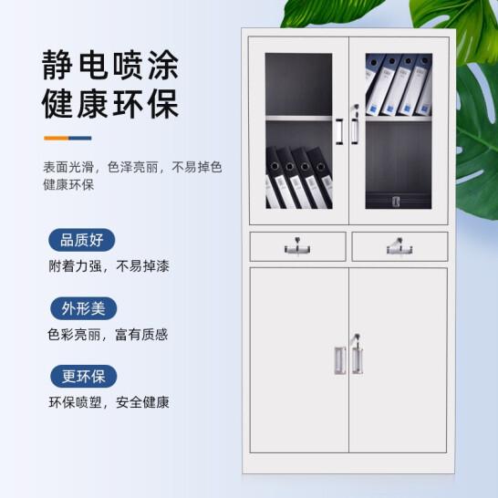 奈高中二斗文件柜办公柜钢制铁皮柜资料柜档案柜储物柜加厚款单个装